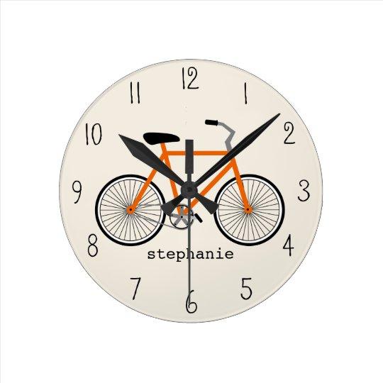 horloge orange de bicyclette. Black Bedroom Furniture Sets. Home Design Ideas