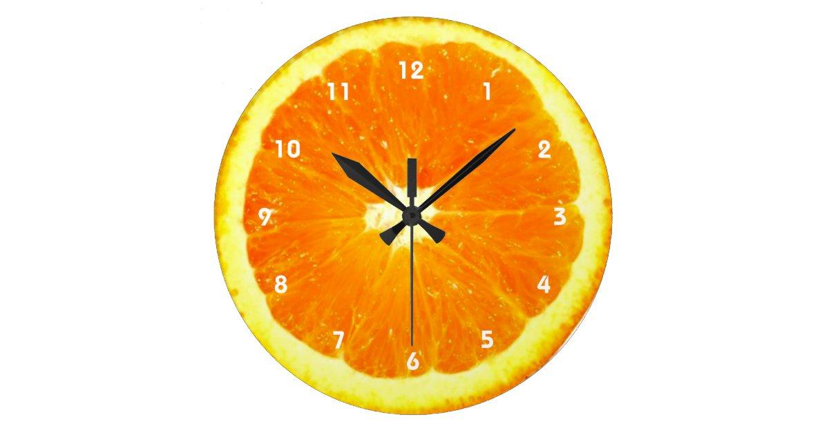 horloge orange de fruit avec des nombres. Black Bedroom Furniture Sets. Home Design Ideas