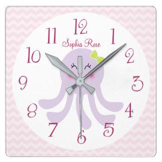 Horloge personnalisée de crèche de poulpe de