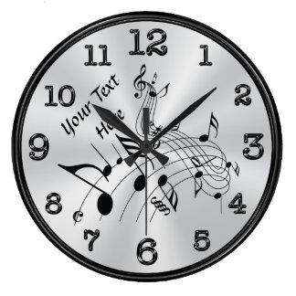 Horloge personnalisée de tourbillonnement de note