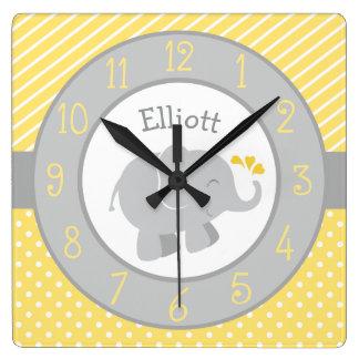 Horloge personnalisée | d'éléphant jaune et gris