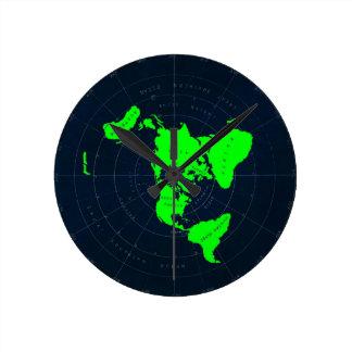 Horloge plate de disque de carte de la terre