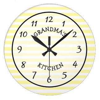 Horloge rayée jaune et blanche de la cuisine de la
