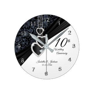 Horloge Ronde 10ème Souvenir noir d'anniversaire de mariage