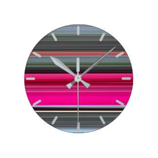 Horloge Ronde #1 abstrait : Couleur cerise et gris