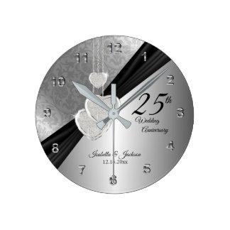 Horloge Ronde 25ème Conception de souvenir d'anniversaire de