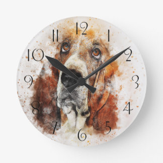 Horloge Ronde Abrégé sur Basset Hound