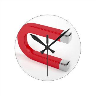 Horloge Ronde Aimant en fer à cheval