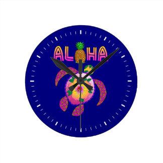 Horloge Ronde Aloha tortue hawaïenne de Honu