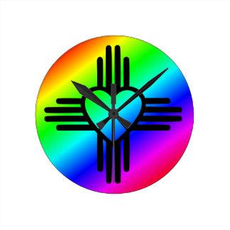 Horloge Ronde Amour d'arc-en-ciel du Nouveau Mexique