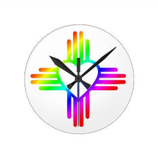 Horloge Ronde Amour du Nouveau Mexique Zia