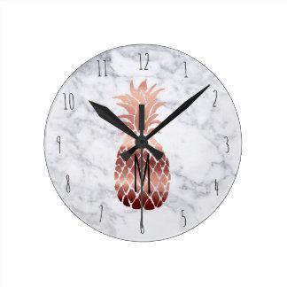 Horloge Ronde ananas rose d'or de monogramme