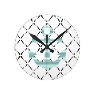 Horloge Ronde Ancre - bandes - bleu et blanc