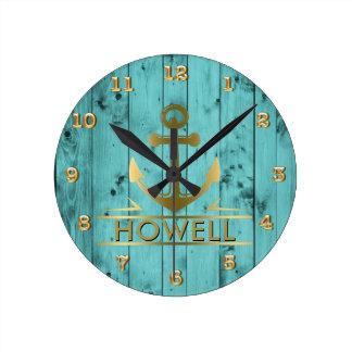 Horloge Ronde Ancre nautique de fibre de bois turquoise en bois