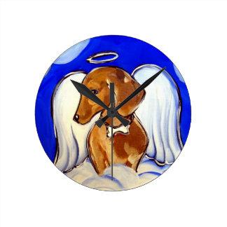 Horloge Ronde Ange rouge de teckel