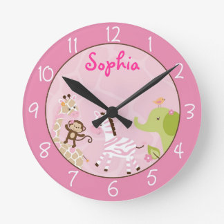 Horloge Ronde Animal rose de jungle