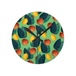 Horloge Ronde aples et vert de citrons