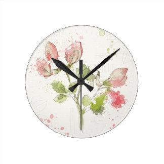 Horloge Ronde Aquarelle de pois doux