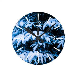 Horloge Ronde Arbre de Noël de neige d'hiver