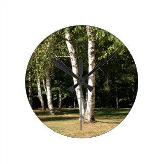 Horloge Ronde arbres de bouleau jumeaux