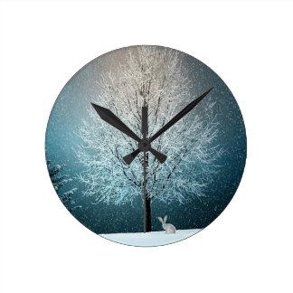 Horloge Ronde Arbres de Noël la nuit