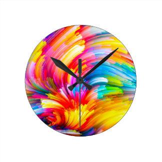 Horloge Ronde arc-en-ciel-peinture
