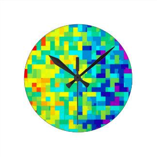 Horloge Ronde Arrière - plan sans couture de motif de pixel en