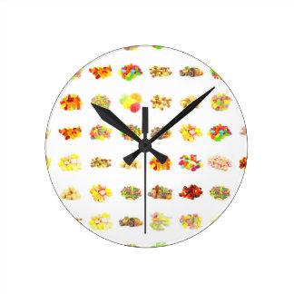 Horloge Ronde Arrière - plan sans couture de motif de sucrerie