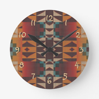 Horloge Ronde Art ethnique éclectique bleu turquoise rouge