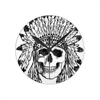 Horloge Ronde Art indigène de visage de crâne