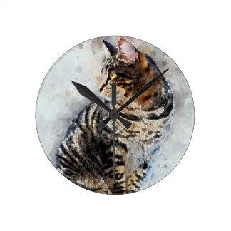 Horloge Ronde Art mignon d'aquarelle de chat tigré