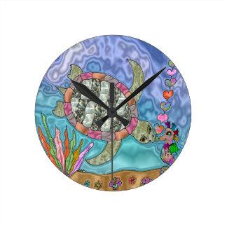 Horloge Ronde Art psychédélique d'hippocampe de tortue de mer