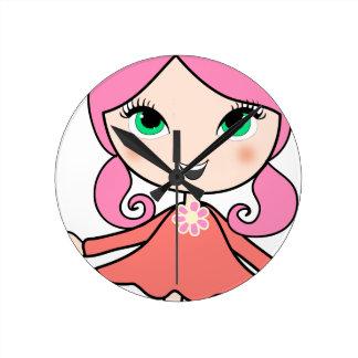 Horloge Ronde Art rose de bande dessinée de fille de cheveux