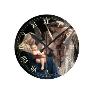 Horloge Ronde Art victorien vintage, chanson des anges,