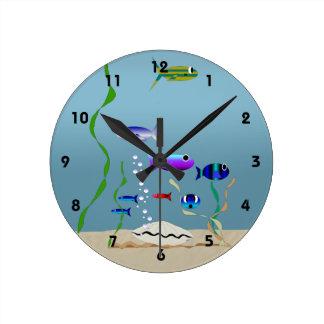 Horloge Ronde Bain avec l'horloge de poissons