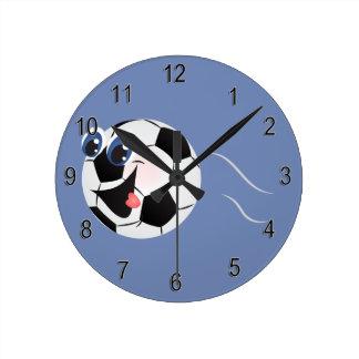Horloge Ronde Ballon de football drôle mignon de l'horloge de