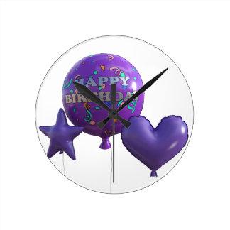 Horloge Ronde Ballons de joyeux anniversaire dans le pourpre