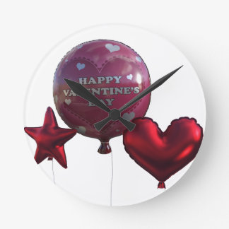 Horloge Ronde Ballons heureux de jour de Valentines