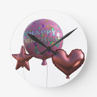 Horloge Ronde Ballons roses de joyeux anniversaire