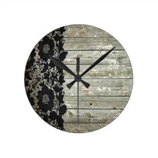 Horloge Ronde barnwood rustique de dentelle noire de Bohème de