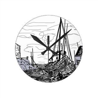 Horloge Ronde bateaux sur la mer