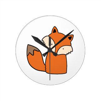 Horloge Ronde Beau renard rouge