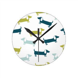 Horloge Ronde Beaux teckels dans de grandes couleurs
