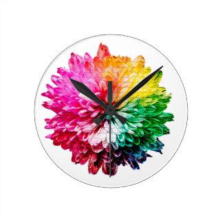 Horloge Ronde Belle fleur multicolore de mosaïque