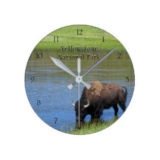 Horloge Ronde Bison de parc national de Yellowstone dans l'étang