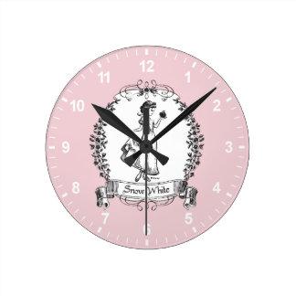 Horloge Ronde Blanc | Apple se tenant - croquis élégant de neige