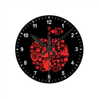 Horloge Ronde Blanc et amis Apple de neige