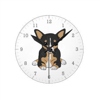 Horloge Ronde Blanc noir mignon de Brown de chiwawa tricolore