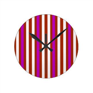 Horloge Ronde Blanc rouge pourpre vertical de rayures