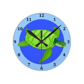 Horloge Ronde Bleu d'océan tropical de plage de tortue de mer
